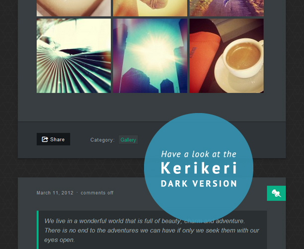 Kerikeri WordPress theme dark version