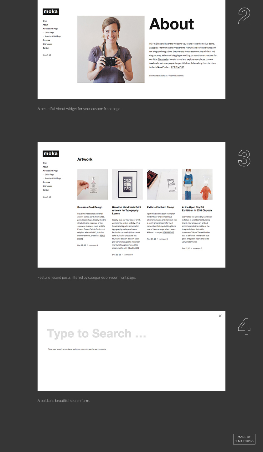 Moka front page widgets and the minimal and bold searchform.